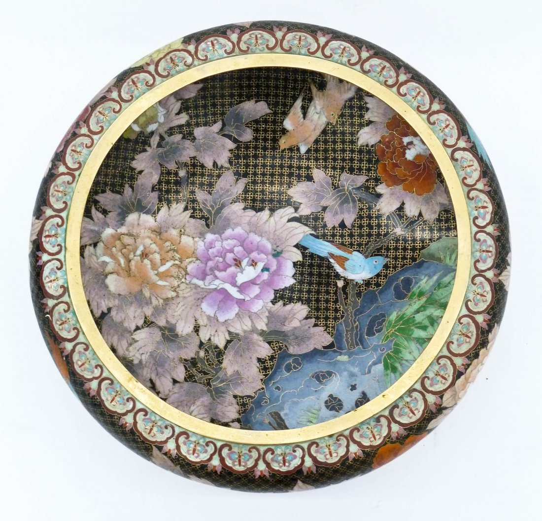 Large Chinese Polychrome Cloisonne Bowl 6.5''x20''.