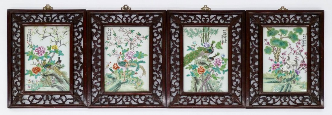 4pc Chinese Famille Rose Porcelain Bird Plaques Framed