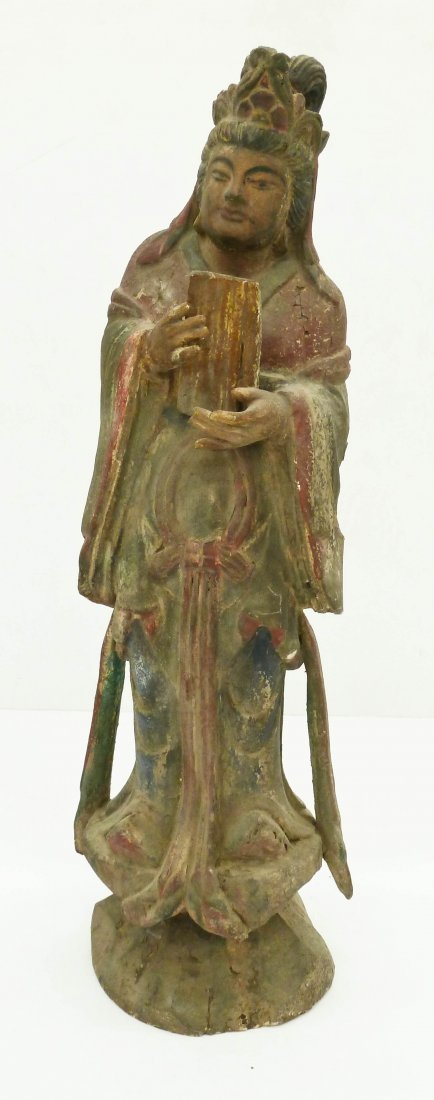 Chinese Polychrome Wood Guanyin Figure Holding Tablet