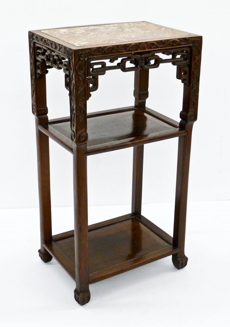 Antique Chinese Carved Rosewood Marble Top Tea Table
