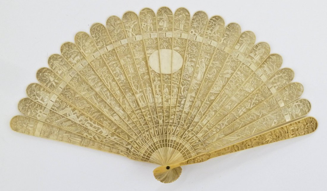 Chinese Export Brise Carved Ivory Hand Fan
