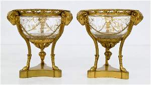 Pair French Dore Bronze & Gilt Glass Compotes 7''x6''.