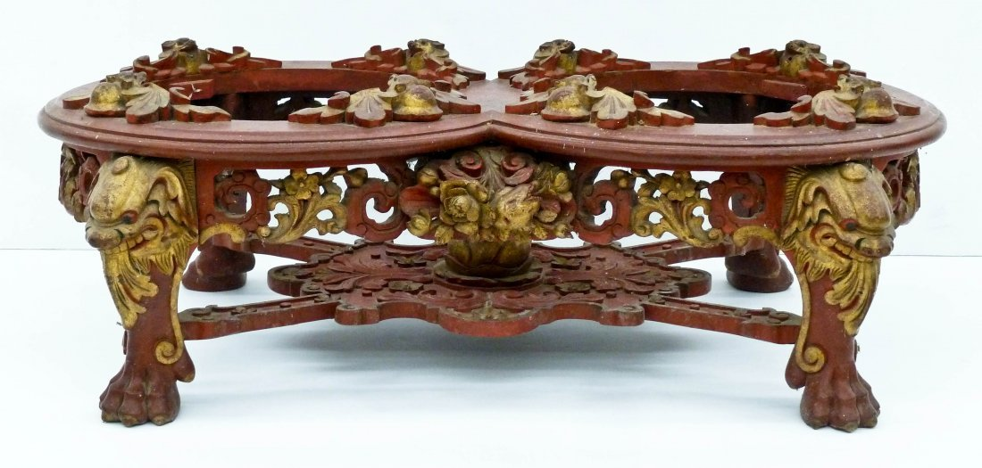 "Antique Chinese Double Carved Bell Stand 11""x34""x19"". G"