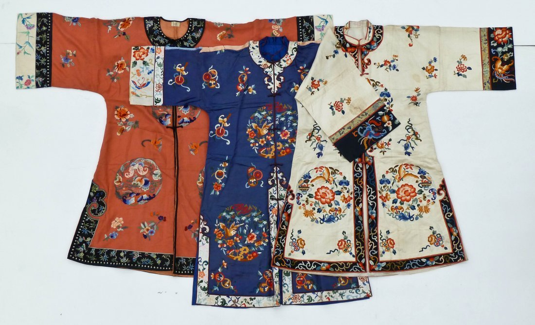 3pc Old Chinese Silk Embroidered Robes. Includes three