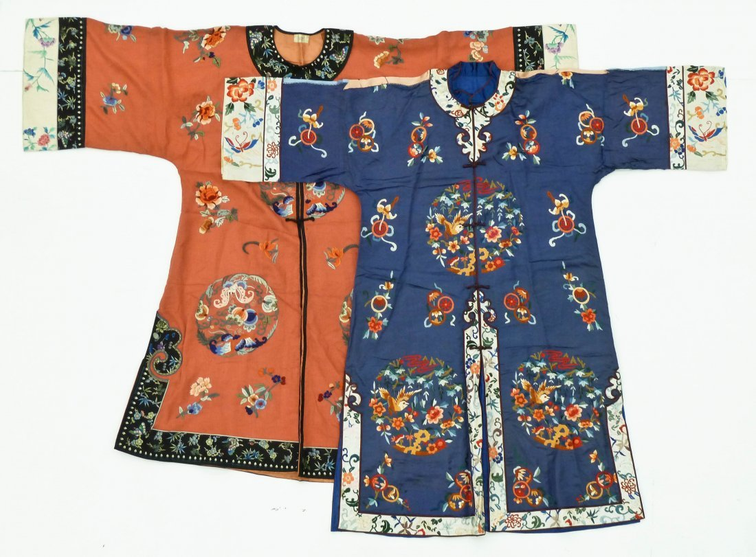 3pc Old Chinese Silk Embroidered Robes. Includes three - 2