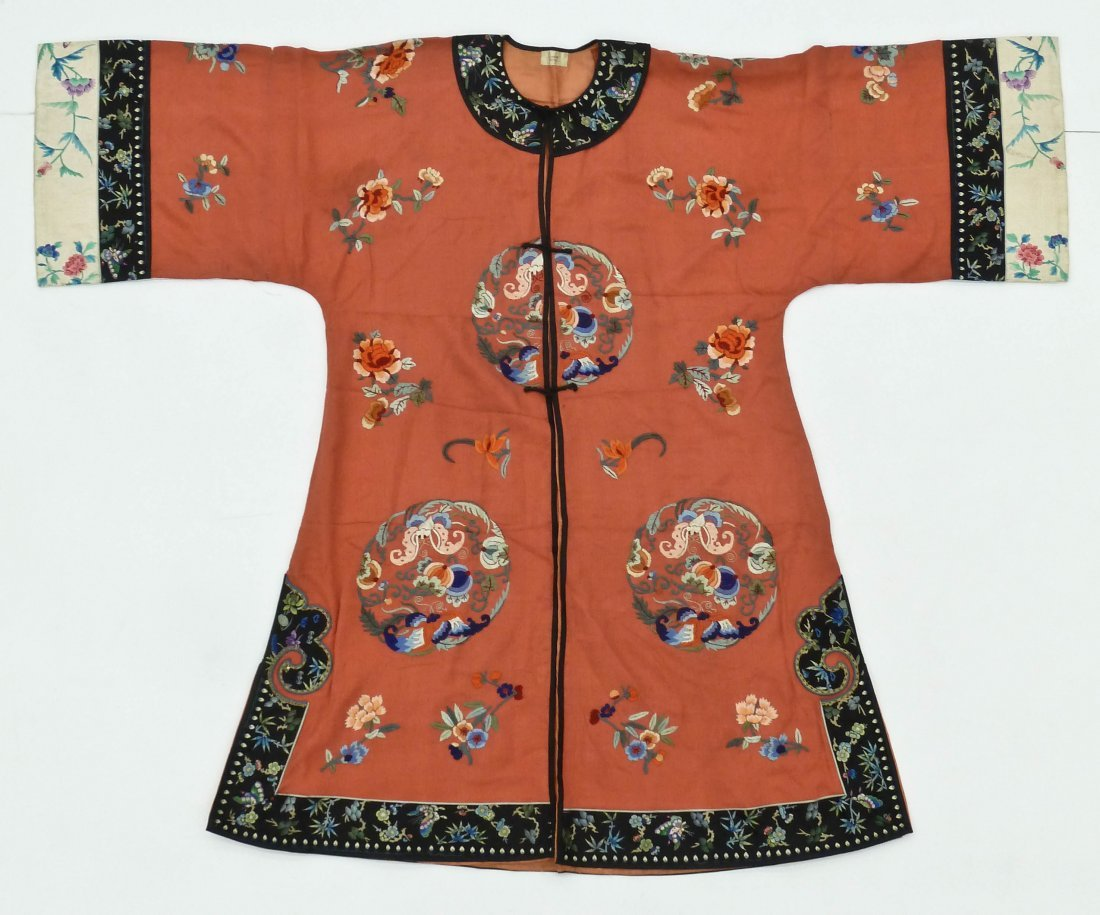 3pc Old Chinese Silk Embroidered Robes. Includes three - 3