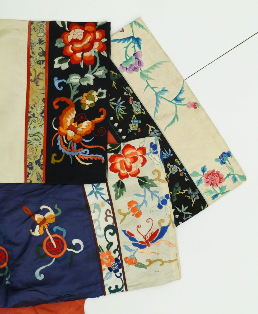 3pc Old Chinese Silk Embroidered Robes. Includes three - 4