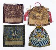 4pc Antique Chinese Rank Badge Silk Purses. Includes