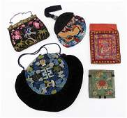 5pc Antique Chinese Silk Handbags Includes polychrome