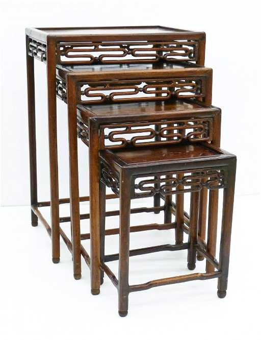 - Antique Chinese Nesting Tables Carved Rosewood. Sizes