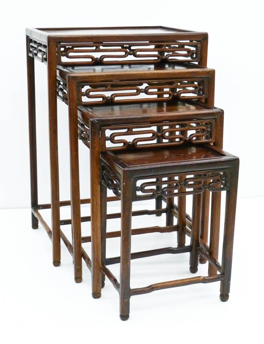 Antique Chinese Nesting Tables Carved Rosewood. Sizes