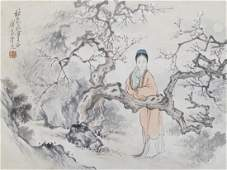Antique Chinese Woman in Landscape Watercolor  Ink on