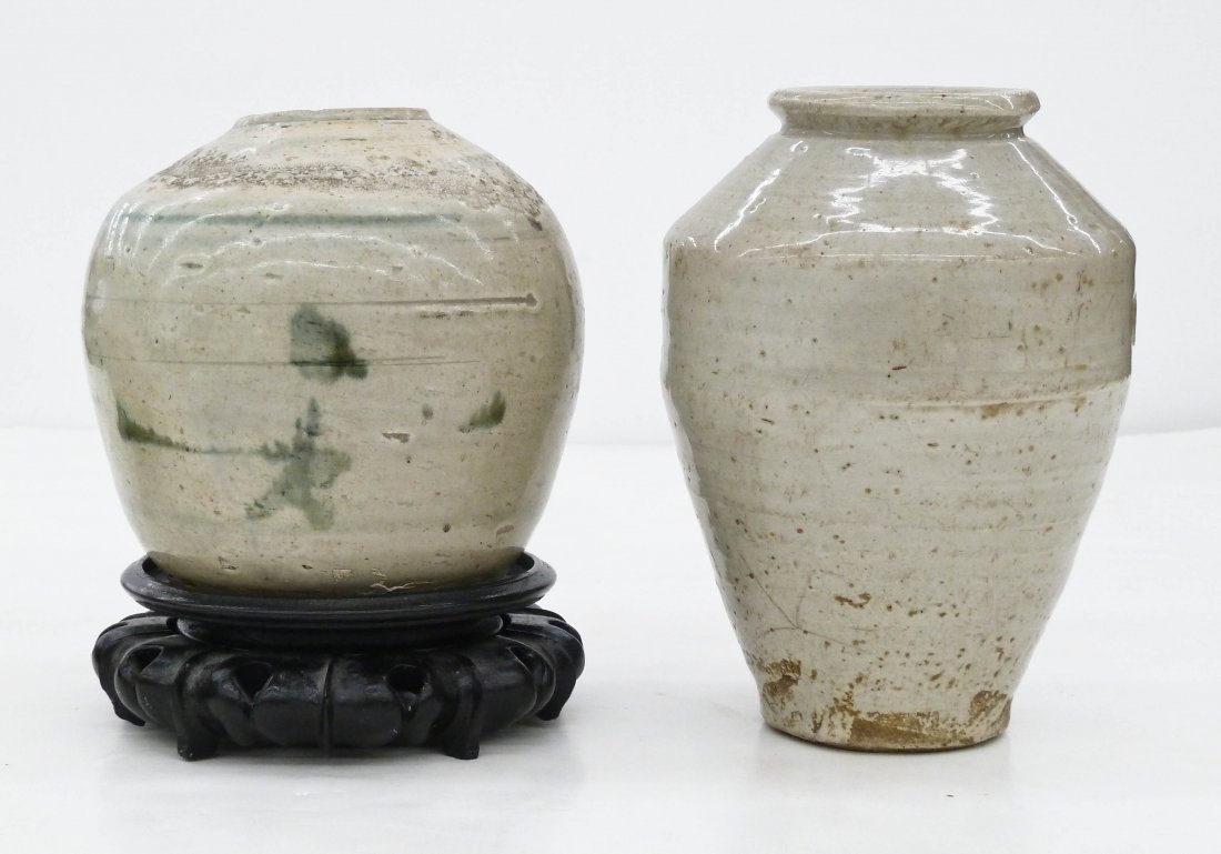 2pc Antique Chinese Stoneware Storage Jars. They