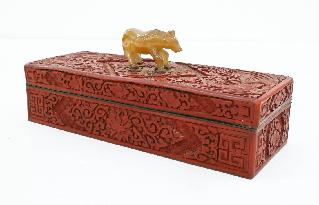 Antique Chinese Cinnabar Long Jewelry Box 4''x10''.