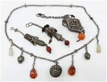 4pc Antique Chinese Silver Necklace & Needle Cases.
