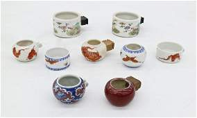 9pc Antique Chinese Bird Feeders Porcelain. Includes a
