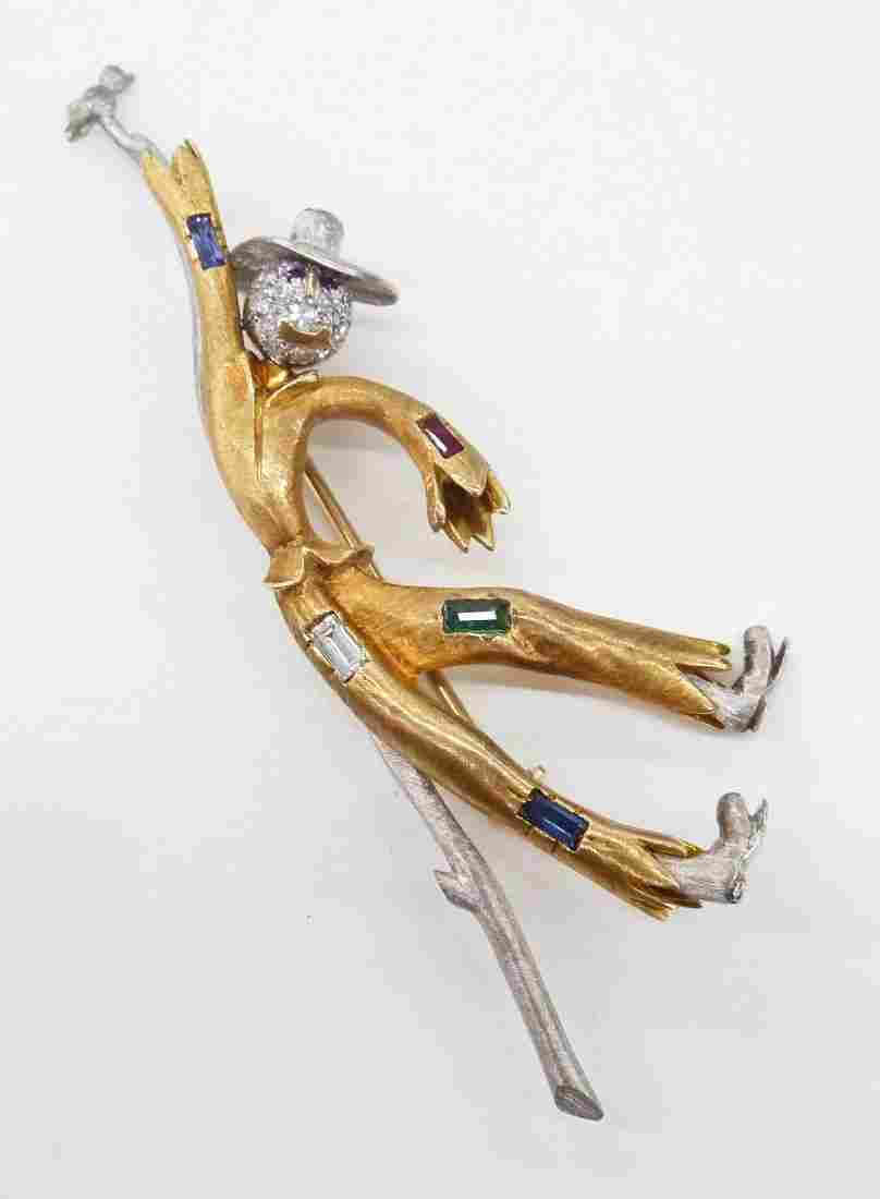 Ladies 18k Diamond Scarecrow Brooch 2.75''x1''.