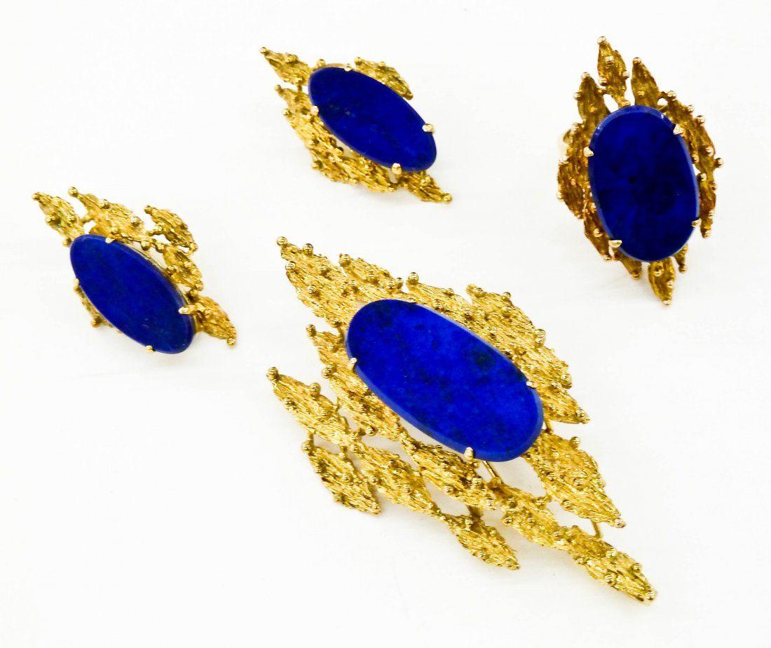 Ladies 14k Lapis Lazuli Modernist Jewelry Suite.