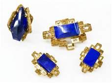 Ladies 14k Lapis Lazuli & Diamond Modernist Jewelry