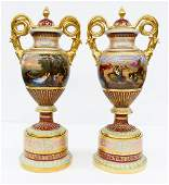 Impressive Pair of Royal Vienna Porcelain Covered Urns