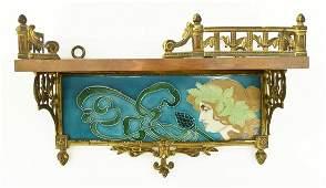 Art Nouveau Majolica Tile Wall Shelf