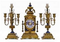Antique Tiffany & Co. Clock and Garniture Set. Gilt