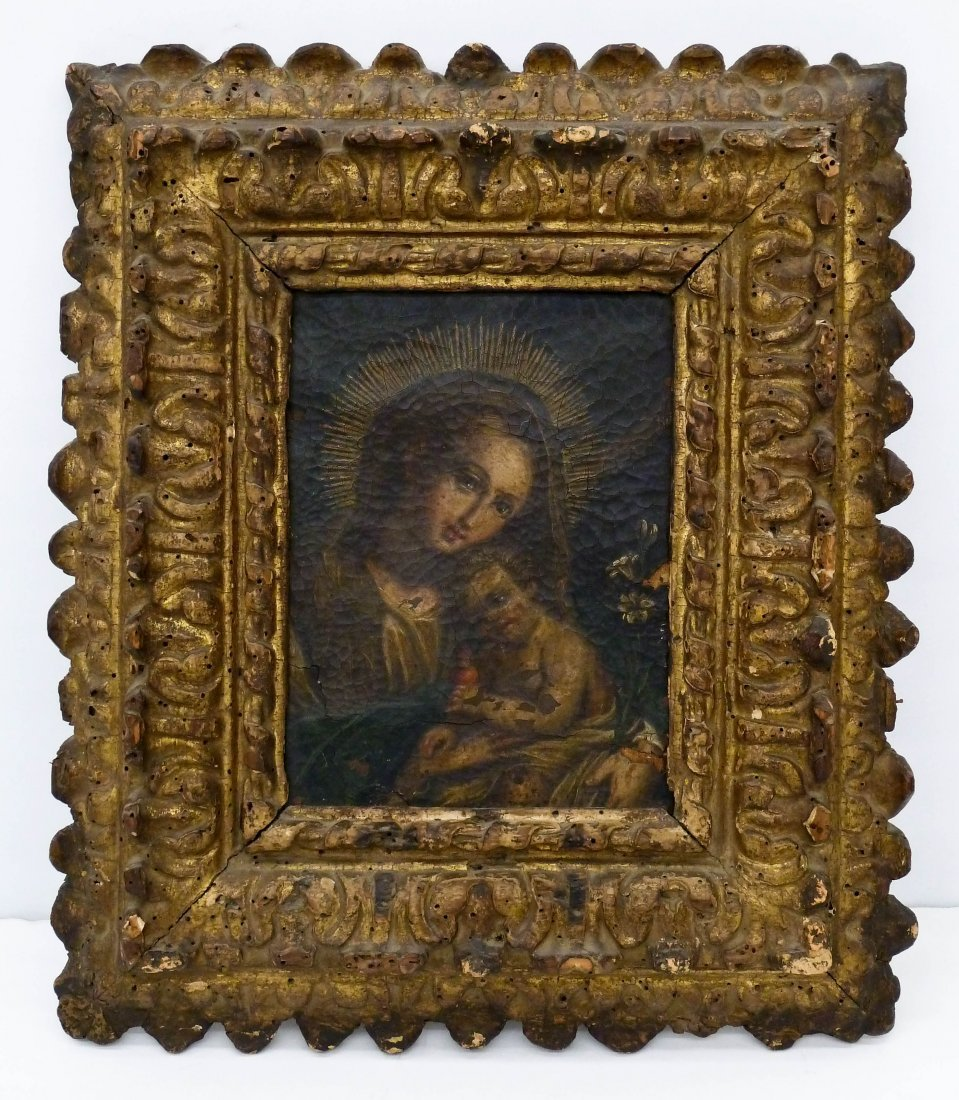 18th Century Spanish Colonial Madonna & Child Oil