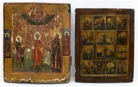 2pc Antique Russian Painted Wood Icons Larger gilt