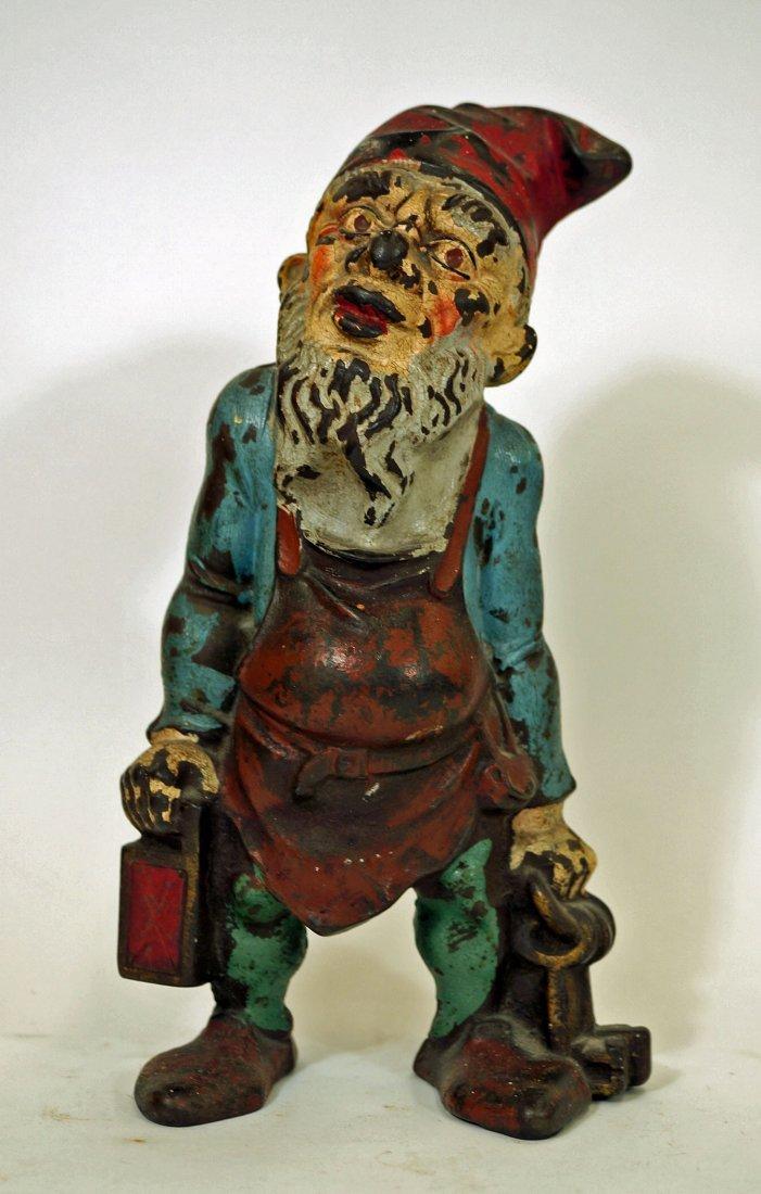 Antique Cast Iron Gnome Elf Doorstop. 10 x 5.5 Original