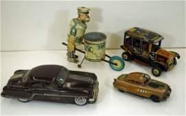 Group 4 Vintage Tin Toys including Marx Tidy Tim
