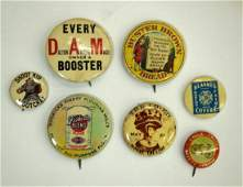 Group of 7 early 1900s advertising pinback buttons