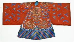 Antique Chinese Silk Embroidered Dragon Robe 38x66