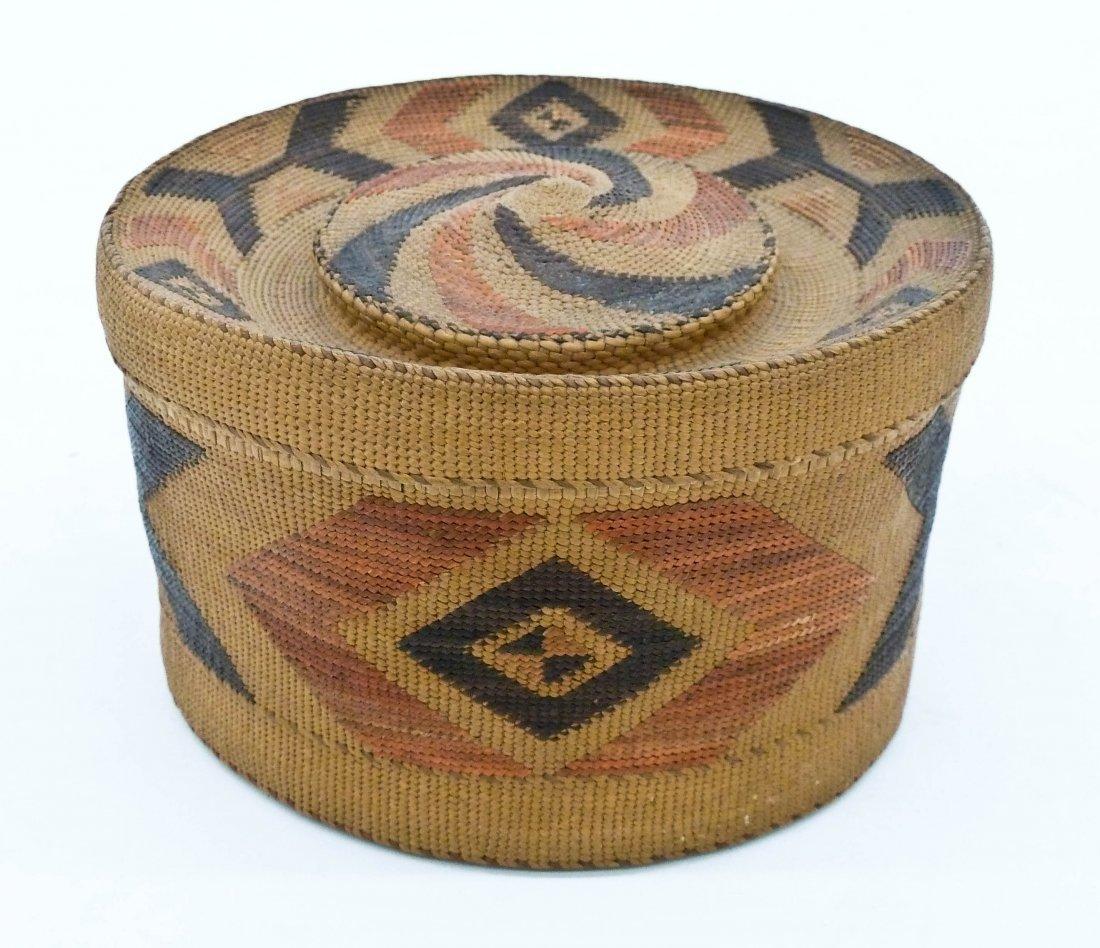 Antique Tlingit Rattle Top Indian Basket 3.75''x6.5''.