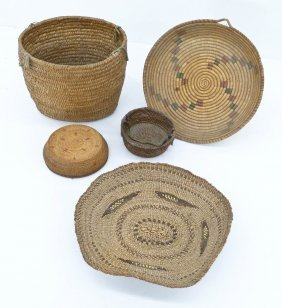 5pc Old Indian Baskets. Includes A Coiled Burden Basket