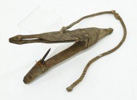Antique Tlingit Figural Halibut Hook 5''x10''. Carved