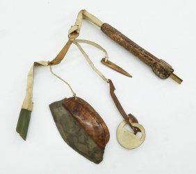 Antique Eskimo Sewing Set With Needle Case 15''. Kit