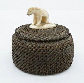 Old Eskimo Baleen Basket with Polar Bear Finial