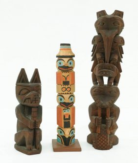 3pc Old Northwest Coast Totem Pole Models. Includes A