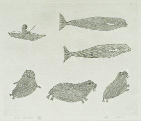 Tuckiakshuk (20th Cent. Inuit) ''kayak Hunter'' 1963
