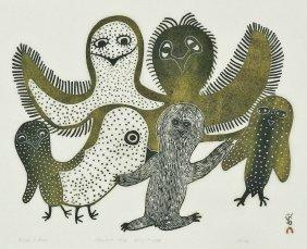 Lucy Qinnuayuak (1915-1982 Inuit) ''birds I Know'' 1976