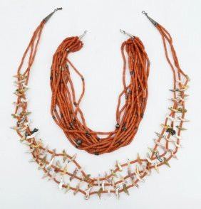 2pc Southwest Coral Necklaces. Includes A Navajo Silver