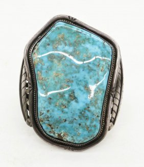Large Navajo Silver & Turquoise Cuff Bracelet