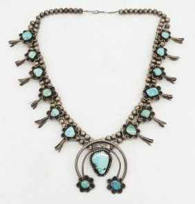 Old Navajo Silver & Turquoise Squash Blossom 28''. A