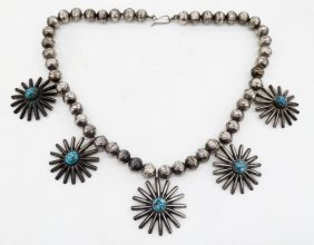 Old Navajo Star Silver & Turquoise Necklace 17''.