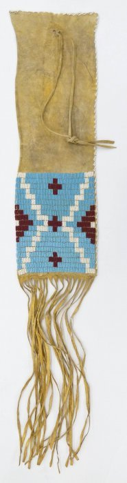 Old Crow Beaded Pipe Bag 36''x6.5''. Polychrome Beaded