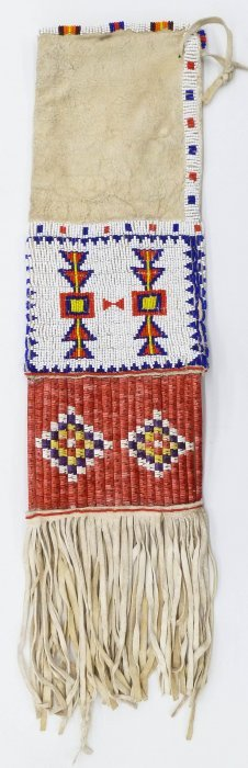 Old Sioux Quilled Pipe Bag 22''x6''. Polychrome Beaded