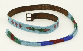 Old Sioux Beaded Belt 74''x1.75''. Polychrome Beaded