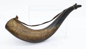 Old Matamoros Mexico Decorated Powder Horn 18.5''x7''.
