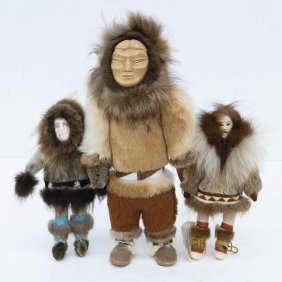 3pc Eskimo Native Dolls. Seal Skin And Fur Dolls With
