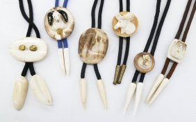 5pc Alaskan Ivory & Gold Nugget Bolo Ties. Sizes Range